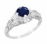 Art Deco Blue Sapphire Engraved Filigree Engagement Ring in Sterling Silver