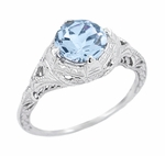 Art Deco Sky Blue Topaz Engraved Filigree Engagement Ring in Sterling Silver