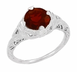 Art Deco Almandite Garnet Engraved Filigree Ring in Sterling Silver