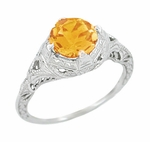 Art Deco Engraved Filigree Citrine Engagement Ring in 14K White Gold