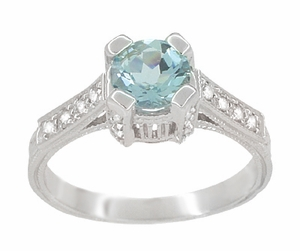 Art Deco Engraved Castle 1 Carat Aquamarine Engagement Ring in Platinum - Item R673A - Image 2