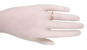 Art Deco Filigree Flowers and Wheat White Sapphire Engraved Engagement Ring in 14 Karat Rose Gold - Item R356R33WS - Image 3