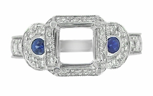 Art Deco Sapphire and Diamonds Engraved Wheat and Scrolls Engagement Ring Setting in 18 Karat White Gold - Item R677 - Image 1