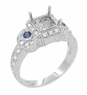 Art Deco Sapphire and Diamonds Engraved Wheat and Scrolls Engagement Ring Setting in 18 Karat White Gold - Item R677 - Image 2