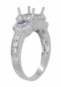 Art Deco Sapphire and Diamonds Engraved Wheat and Scrolls Engagement Ring Setting in 18 Karat White Gold - Item R677 - Image 3
