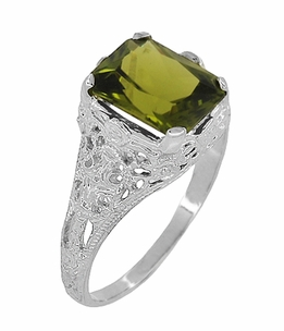 Filigree Radiant Cut Olive Green Peridot Edwardian Ring in Sterling Silver - Item SSR618PER - Image 1