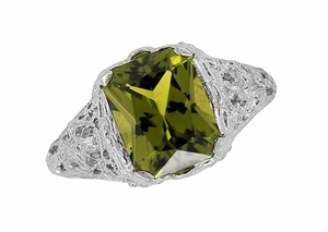 Filigree Radiant Cut Olive Green Peridot Edwardian Ring in Sterling Silver - Click to enlarge