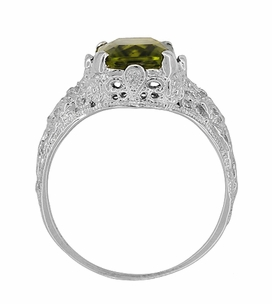 Filigree Radiant Cut Olive Green Peridot Edwardian Ring in Sterling Silver - Item SSR618PER - Image 4