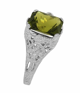Filigree Radiant Cut Olive Green Peridot Edwardian Ring in Sterling Silver - Item SSR618PER - Image 5
