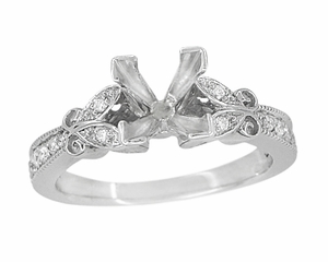 Art Deco Filigree Butterfly 3/4 Carat Princess Cut Diamond Engagement Ring Setting in 14 Karat White Gold - Click to enlarge