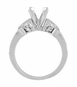 Art Deco Filigree Butterfly 3/4 Carat Princess Cut Diamond Engagement Ring Setting in 14 Karat White Gold - Item R850PRW75 - Image 4