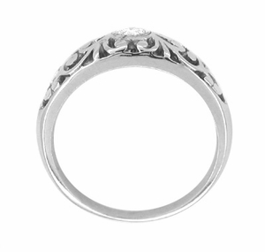 Edwardian Filigree Diamond Palladium Ring | Low Profile Vintage Palladium Diamond Band - Item R197PDM - Image 1