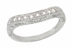 Art Deco Engraved Scrolls Curved Diamond Wedding Ring in Platinum