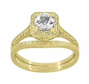 Art Deco Curved Engraved Wheat Wedding Ring in 14 Karat Yellow Gold - Item R1166Y - Image 3