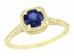 Filigree Scrolls Engraved Sapphire Engagement Ring in 14 Karat Yellow Gold