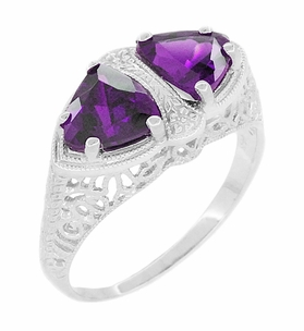 Art Deco Filigree Loving Duo Amethyst Ring in 14 Karat White Gold - February Birthstone - Item R1129AM - Image 1