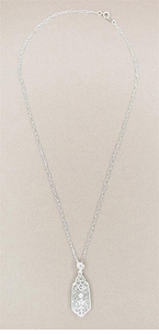 Art Deco Filigree Diamond Set Lavalier Pendant Necklace in 14 Karat White Gold - Click to enlarge