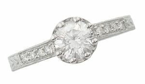 Royal Crown 3/4 Carat Antique Style Engraved Engagement Ring in 18 Karat White Gold - Click to enlarge