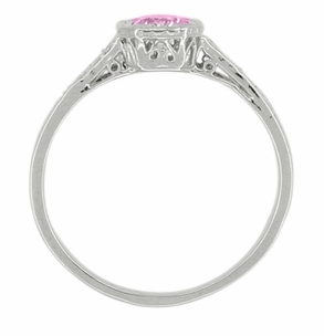 Art Deco Filigree Diamond and Pink Sapphire Engagement Ring in 18 Karat White Gold - Item R298WPS - Image 1