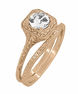Art Deco Curved Engraved Wheat Wedding Ring in 14 Karat Rose Gold - Item R1166R - Image 2