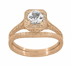 Art Deco Curved Engraved Wheat Wedding Ring in 14 Karat Rose Gold - Item R1166R - Image 3