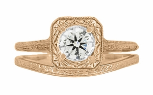 Art Deco Curved Engraved Wheat Wedding Ring in 14 Karat Rose Gold - Item R1166R - Image 4