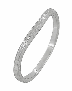 Art Deco Curved Engraved Wheat Wedding Ring in Platinum - Click to enlarge
