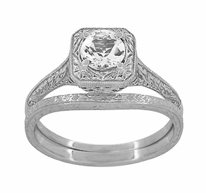 Art Deco Curved Engraved Wheat Wedding Ring in Platinum - Item R1166P - Image 3