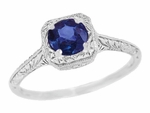 Filigree Scrolls Engraved Art Deco Platinum Sapphire Engagement Ring