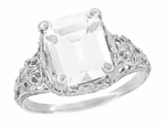 Edwardian Filigree Emerald Cut Cubic Zirconia ( CZ ) Ring in Sterling Silver