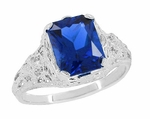 Edwardian Filigree Radiant Cut Lab Created Blue Sapphire Ring in Sterling Silver