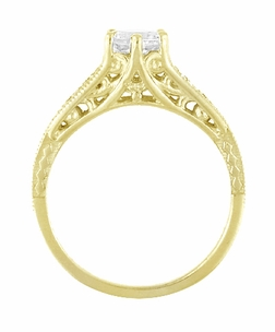 White Sapphire Filigree Engagement Ring in 14 Karat Yellow Gold - Item R158YWS - Image 2