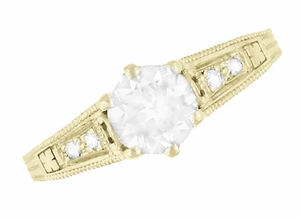 White Sapphire Filigree Engagement Ring in 14 Karat Yellow Gold - Item R158YWS - Image 4