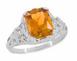 Edwardian Filigree Radiant Cut Citrine Ring in Sterling Silver
