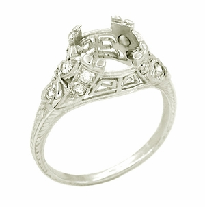 Vintage Art Deco Filigree Greek Key 1.5 Carat Platinum Engagement Ring Mounting - Item R186 - Image 1