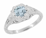 Art Deco Filigree Flowers Aquamarine Engagement Ring in Sterling Silver