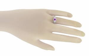 Art Deco Amethyst and Diamond Filigree Engagement Ring in 14 Karat White Gold - Item R228WAM - Image 2