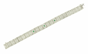 Art Deco Filigree Emerald and Diamond Set Bracelet in 14 Karat White Gold - Item BRV46W - Image 1