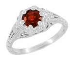 Art Deco Filigree Flowers Almandine Garnet Ring in Sterling Silver