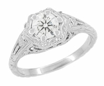 Art Deco Filigree Flowers White Topaz Engagement Ring in Sterling Silver