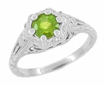 Art Deco Filigree Flowers Sterling Silver Peridot Ring