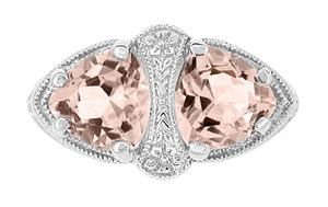 Art Deco Filigree Loving Duo Two Stone Morganite Ring in 14 Karat White Gold - Item R1129WM - Image 1