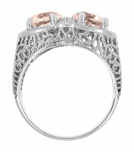 Art Deco Filigree Loving Duo Two Stone Morganite Ring in 14 Karat White Gold - Item R1129WM - Image 2