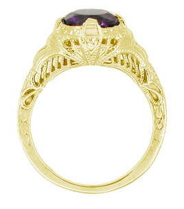 Art Deco Amethyst Engraved Filigree Engagement Ring in 14 Karat Yellow Gold - Click to enlarge