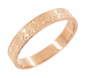 Mens Antique Style Art Deco Engraved Wheat Wedding Ring in 14 Karat Rose ( Pink ) Gold  - Item MR858RND - Image 1