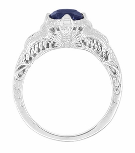 Art Deco Blue Sapphire Engraved Filigree Engagement Ring in Sterling Silver - Item SSR161S - Image 1