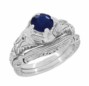 Art Deco Blue Sapphire Engraved Filigree Engagement Ring in Sterling Silver - Click to enlarge