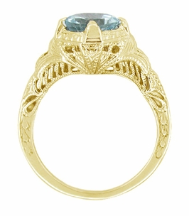 Art Deco Aquamarine Engraved Filigree Engagement Ring in 14 Karat Yellow Gold - Click to enlarge