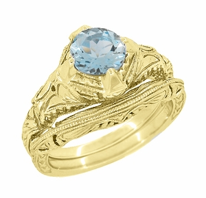Art Deco Aquamarine Engraved Filigree Engagement Ring in 14 Karat Yellow Gold - Item R161YA - Image 2