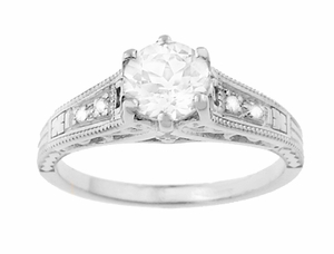 Art Deco Filigree Antique Style Diamond Engagement Ring in 14 Karat White Gold - Click to enlarge